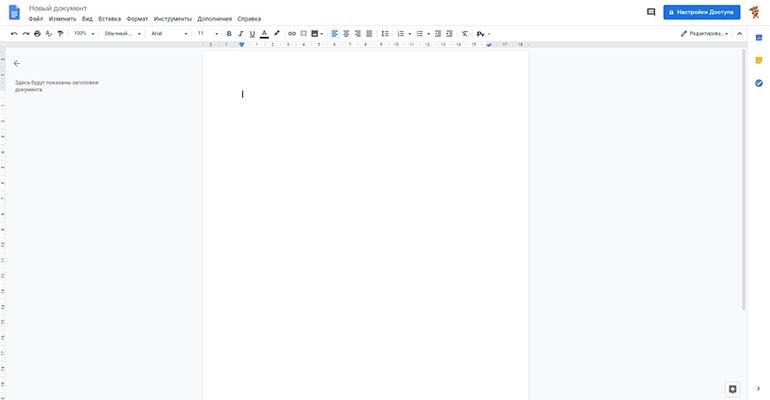 Как выглядит только что созданный гугл-документ (Google Docs)