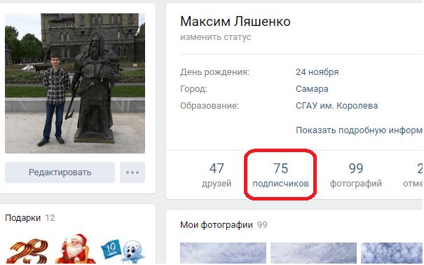 Количество подписчиков