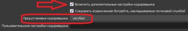 поставьте галочку «Включить дополнительные настройки кодировщика» и в появившемся меню выберите «veryfast»